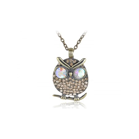 Eyed Owl Pendant - Topaz Yellow Crystal Rhinestone Owl AB Big Eyed Costume Jewelry Pendant Necklace