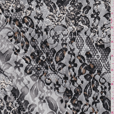 Black Print Stretch Lace Fabric Sold By The Yard
