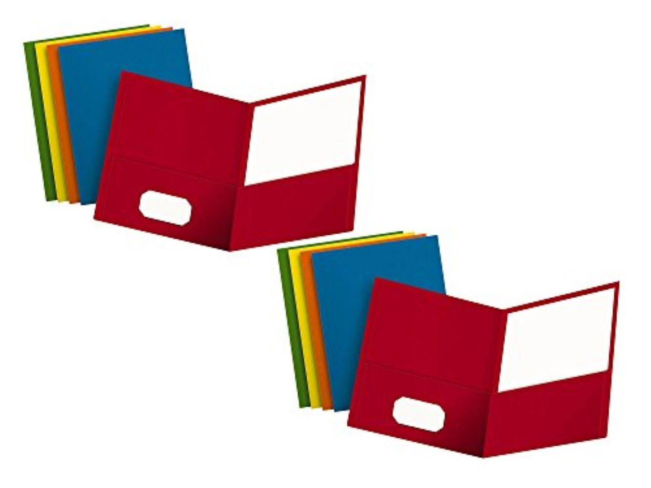 Oxford Two-Pocket Folders Orange Green - New Holds 100 Sheets Textured Paper Assorted Colors: Red Light Blue Yellow 67613 Letter Size Box of 50