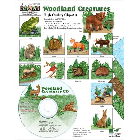 ScrapSMART Woodland Creatures Clip-Art CD-ROM, Colorful Illustrations for Scrapbook, Craft, Sewing