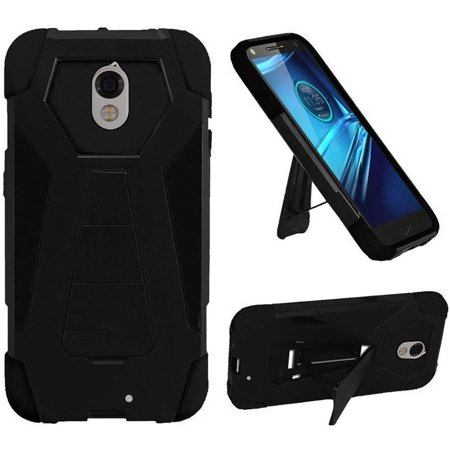 HR Wireless Dual Layer Hybrid Stand Hard Plastic/Soft Silicone Case Cover For Motorola Droid Turbo, - Black Silicone Soft Cover Case