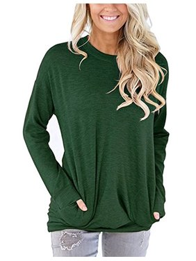 303fd978f5 Product Image JustVH Women's Long Sleeve Casual Sweatshirt Pullover Loose  Tunic Shirts Blouse Tops With Pocket