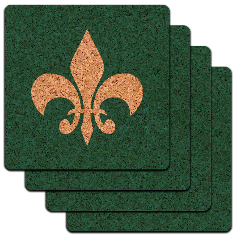 Fleur de Lis Teal Low Profile Cork Coaster Set