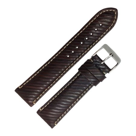 22 Mm Italian - Hadley Roma MS852 22mm Reg Brown Grained Italian Leather Men's Watch Band