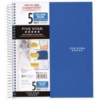 FIVE STAR 2PK WIREBOUND NOTEBOOK, 5 SUBJECT, COLLEGE RULED, ASSORTED COLOR
