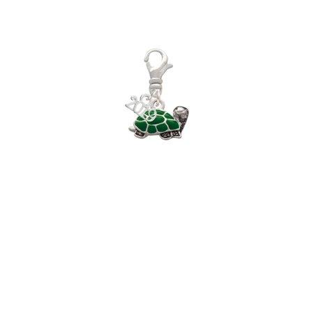Silvertone Green Side Turtle - 2019 Clip on Charm - Green Turtle Italian Charm