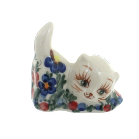 Polish Pottery Garden Butterfly Petite Decorated Cat Figurine