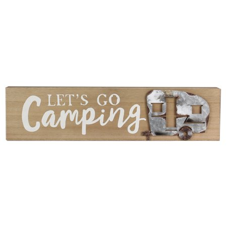 Lets Go Camping Rusty Camper Box Sign Wood and Tin 18.75