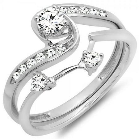 Dazzlingrock Collection 0.50 Carat (ctw) 10K Diamond Ladies Swirl Bridal Engagement Ring Set 1/2 CT, White Gold, Size 4 Swirl Ladies Ring