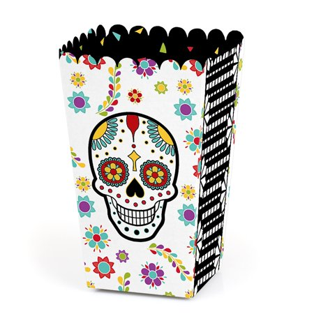 Day Of The Dead - Halloween Sugar Skull Party Favor Popcorn Treat Boxes - Set of 12 - Cute Halloween Classroom Treats