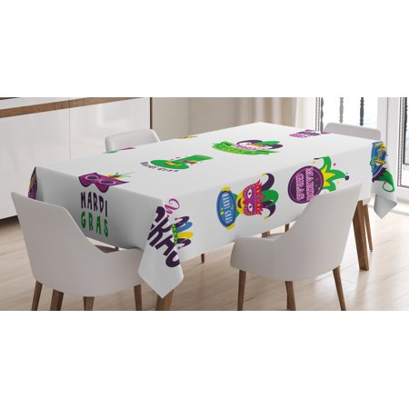 Mardi Gras Tablecloth, Set of Carnival Masks Hats and Fleur De Lis Symbols Colorful Joyous Collection, Rectangular Table Cover for Dining Room Kitchen, 60 X 84 Inches, Multicolor, by Ambesonne - Mardi Gras Tablecloth