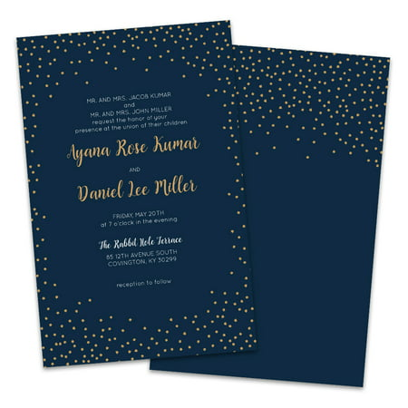 Personalized Navy Twinkle Wedding Invitations - Twinkle Twinkle Little Star Invitation