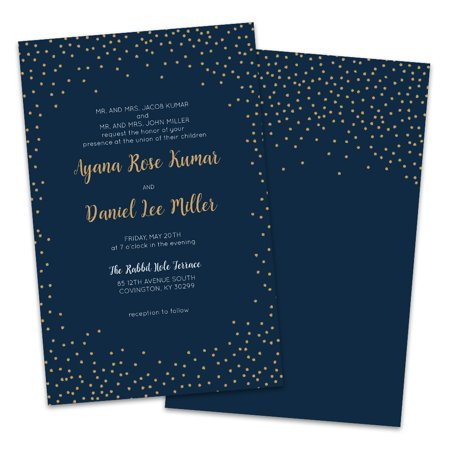Personalized Navy Twinkle Wedding Invitations