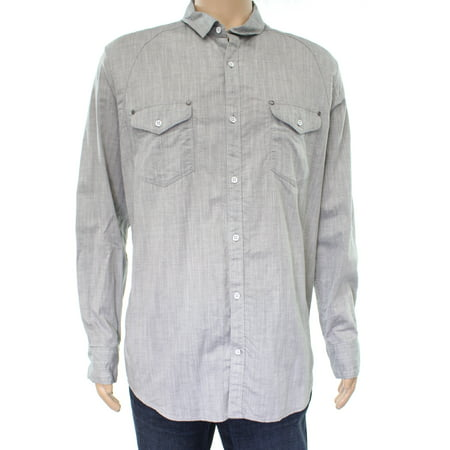 INC NEW Gray Skies Mens Size XL Dual Chest Pocket Button Down Shirt ()