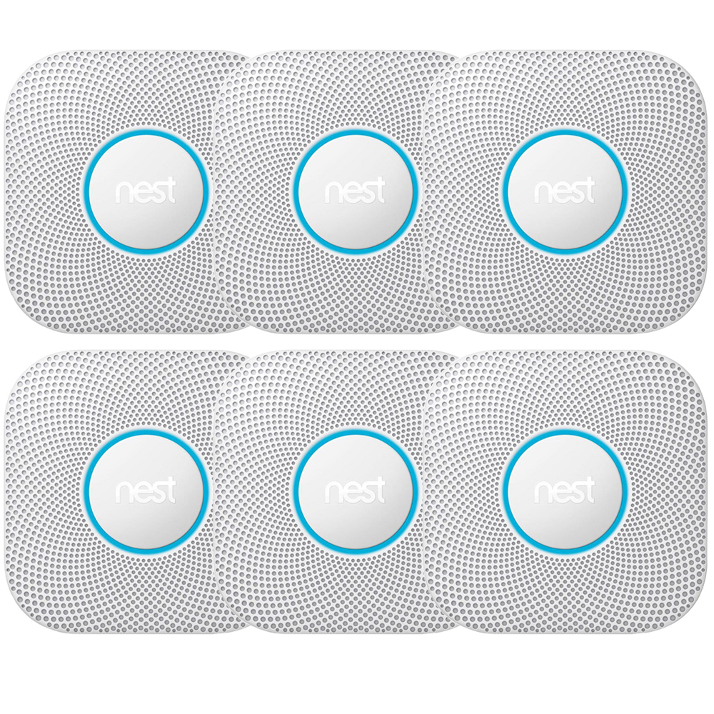 Nest Protect Smoke and CO Alarm Battery 3-Pack White Pack of 2 (S3006WBUS)