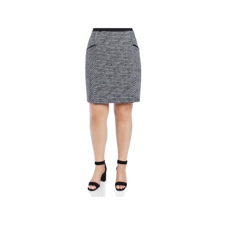 Foxcroft Womens Plus Jemma Striped Pull On Pencil Skirt