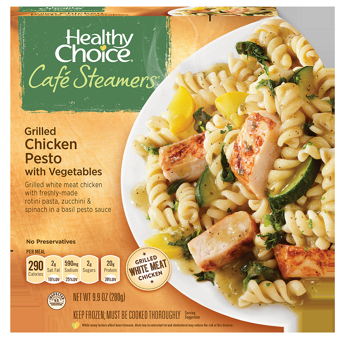 Healthy Choice Cafe Steamers Top Chef Grilled Chicken Pesto with Vegetables, 9.9 oz