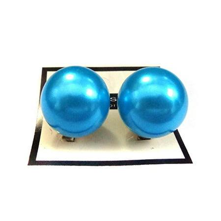 Clip On Earrings Faux Pearl Blue Ball 1 Inch