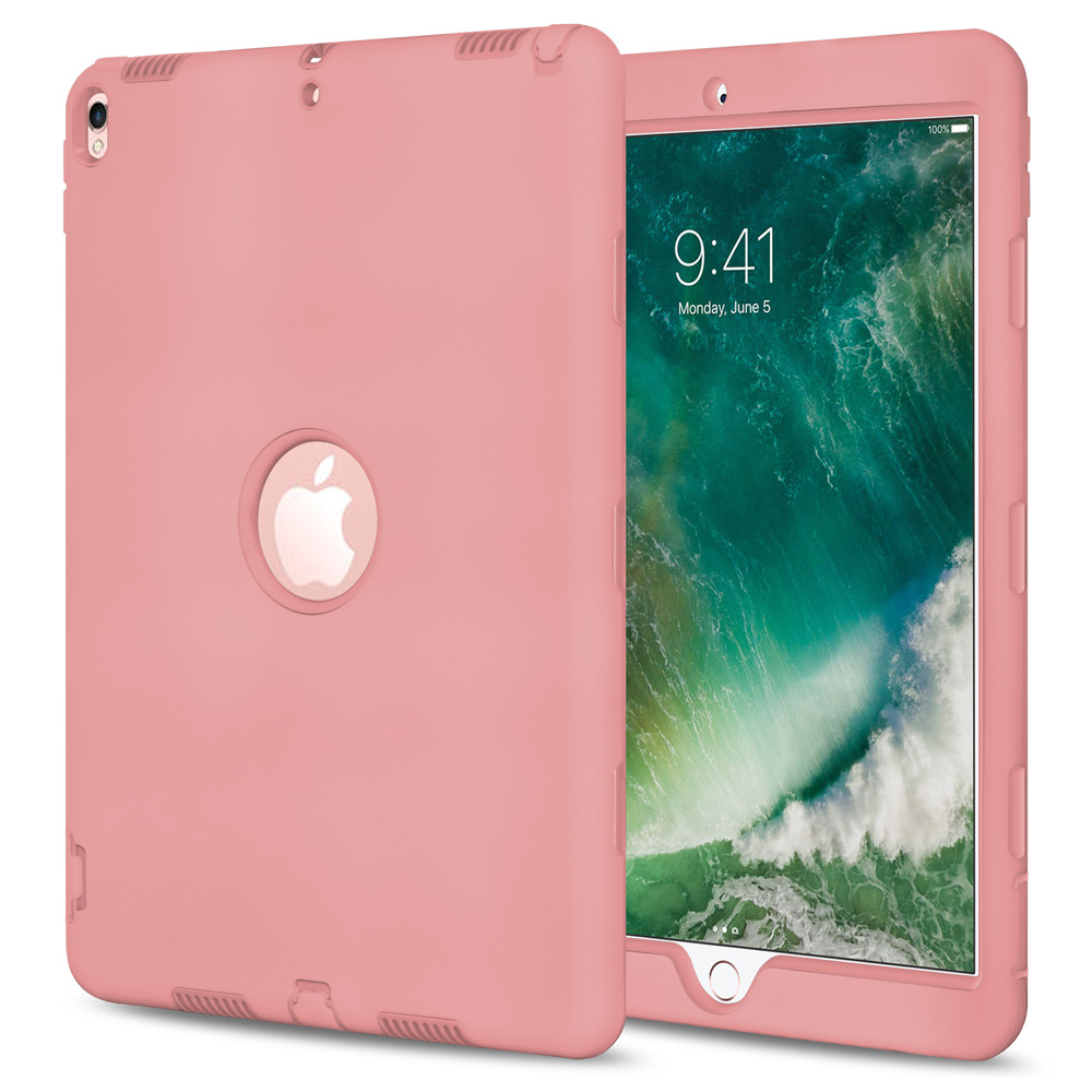 iPad Pro 10.5 Case,Hybrid Dual Layer Cover Shockproof Anti Scratch Back Case - Pink for Apple iPad Pro 10.5 inch ,Raised Silicone,User Friendly,Tough PolyCarbonate