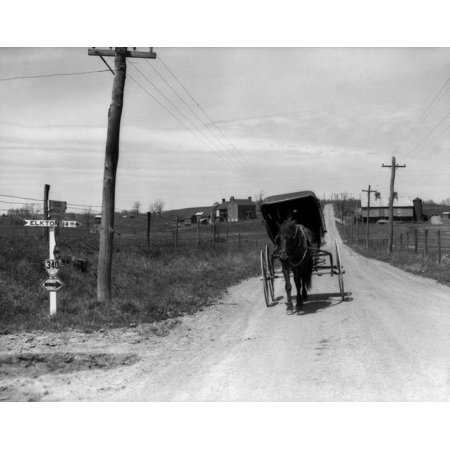 1920s-1930s Amish Man Driving Buggy Down Rural Dirt Road In Farm Country Poster Print By Vintage Collection](Amish Man)