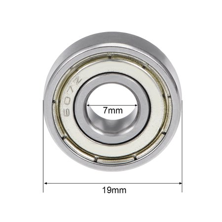 607ZZ Deep Groove Ball Bearing 7x19x6mm Double Shielded Chrome Bearings 5pcs - image 3 of 4
