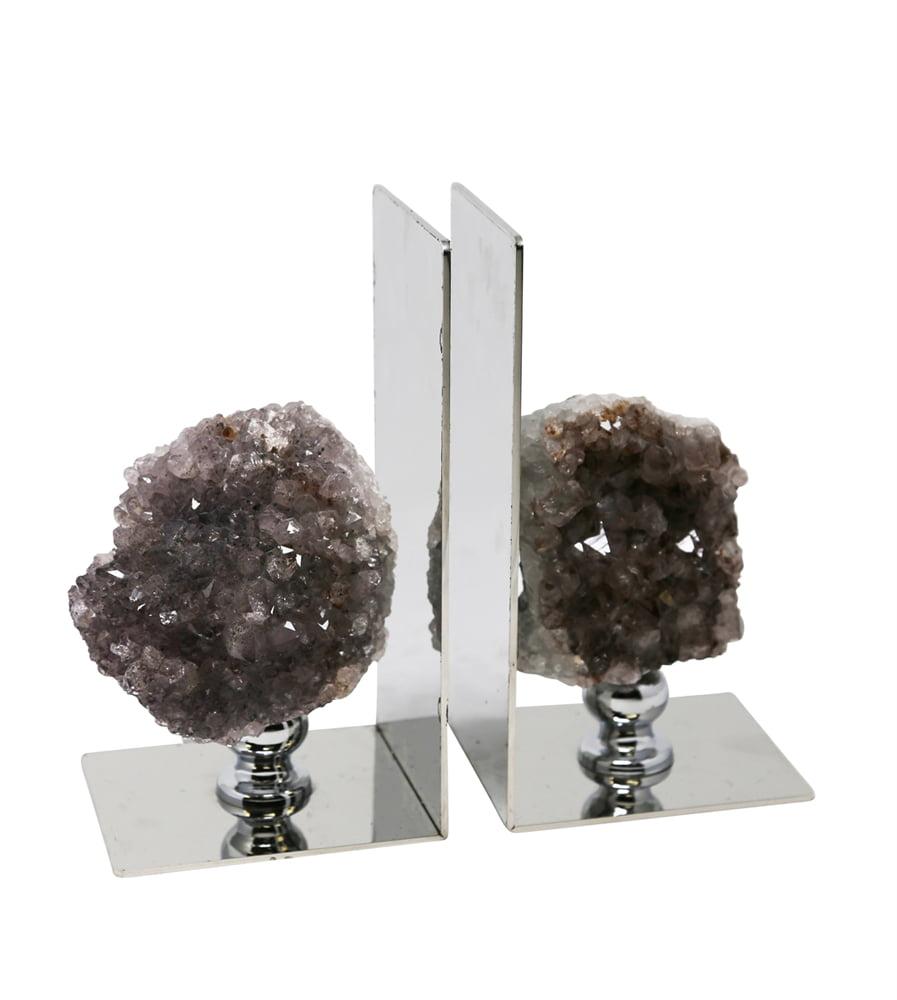 SageBrook Home Amethyst/Metal Bookend Purple - Set of 2