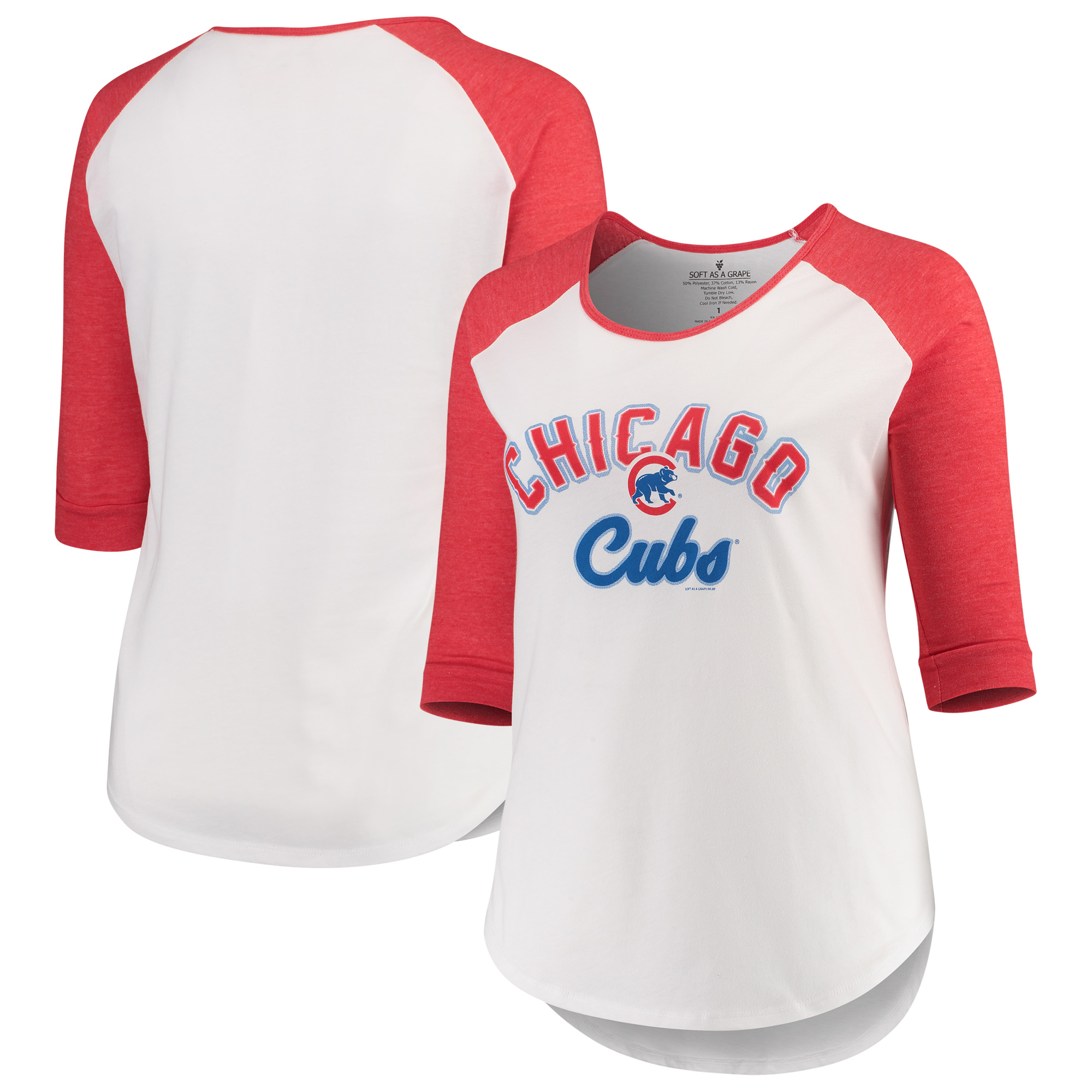 Chicago Cubs Soft as a Grape Women's Plus Size Curvy Tri-Blend Raglan 3/4-Sleeve Baseball T-Shirt - Heathered White/Red