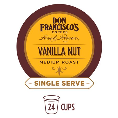 Pecan Nut Cups - Don Francisco's Vanilla Nut Flavored Single Cup Coffee Pods, 24 Count, Compatible with Keurig K-Cup Machines