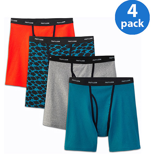 Fruit of the Loom Big Men's Ringer Style Assorted Color Boxer Briefs, 4-Pack