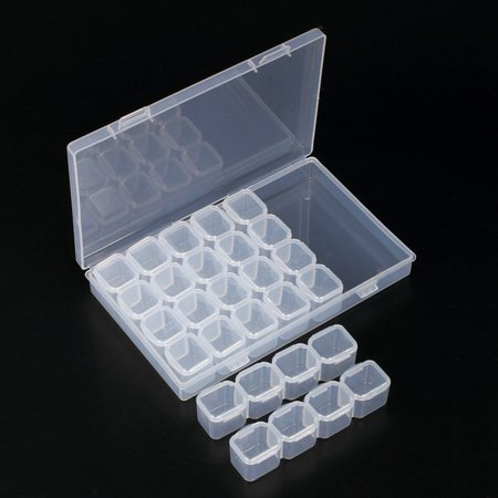 Clear Storage Case - 28 Slots Clear Bathroom Storage Case Removable Rhinestone Nail Art Tools Jewelry Display Storage Box Organizer Ring Beads Holder