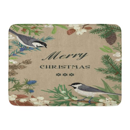 GODPOK Beige Birds and Evergreens and Berries in Rustic Botanical Spruce Juniper Mistletoe Snow Berry Winter Rug Doormat Bath Mat 23.6x15.7