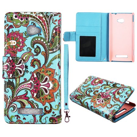 Blue Paisley Wallet Folio Case for HTC Windows Phone 8X / Accord / Zenith 6990 Fashion Flip PU Leather Cover Card Slots & Stand (Windows 8 Htc Phone Cover)