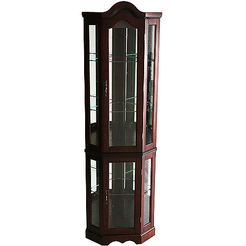 Corner Lighted Curio Cabinet , Mahogany - Walmart.com