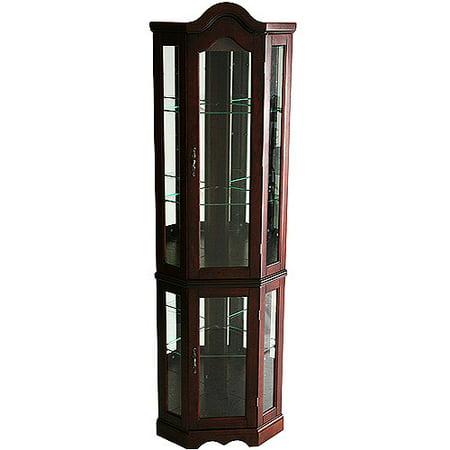 Corner Lighted Curio Cabinet , Mahogany