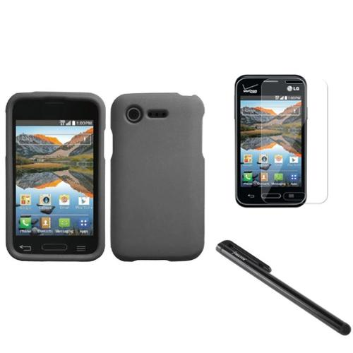 Insten Gray Thin Hard Case for LG Optimus Zone 2 VS415PP L34C Fuel+Clear Screen Protector+3.5mm Stylus Pen