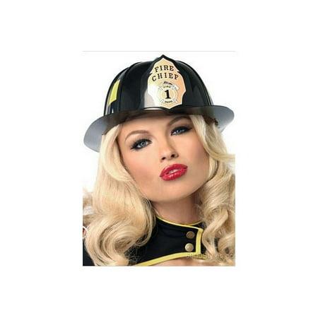 Leg Avenue Fireman Hat Costume Accessory, Black, One Size](Male Fireman Costume)