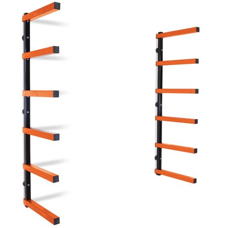 Titan 6 Shelf Lumber Storage Rack Steel Wall-Mounted Indoor/Outdoor 600 lb Max