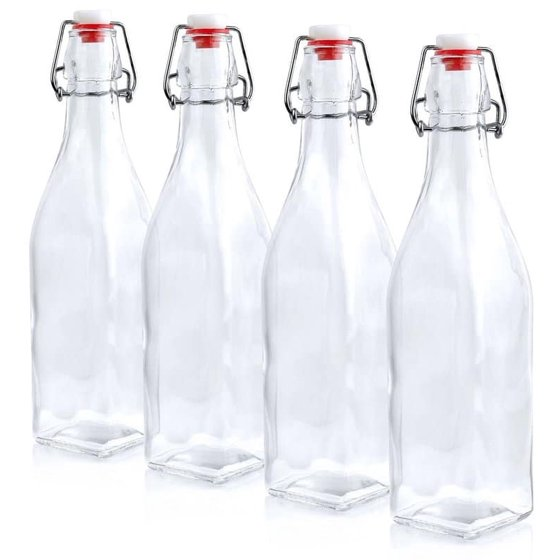 Estilo Swing Top Easy Cap Clear Glass Beer Bottles, Square, 8 5 oz, Set of 6