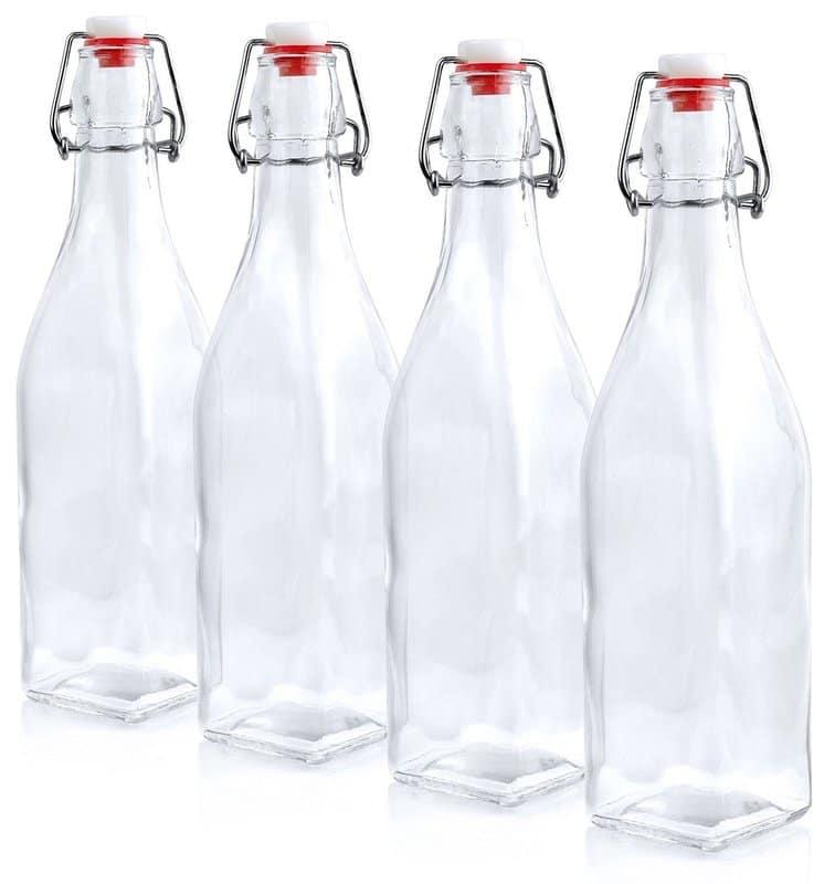 Estilo Swing Top Easy Cap Clear Glass Beer Bottles, Square, 8.5 oz, Set of 6