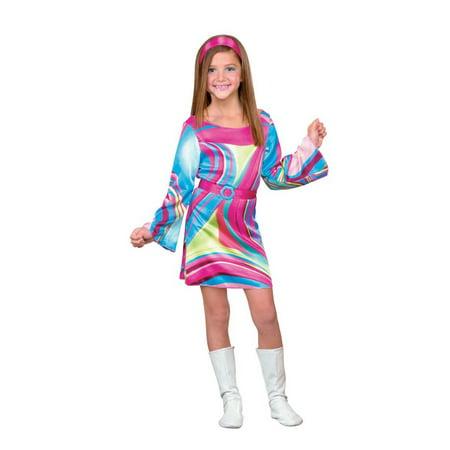 Disguise Girls Go-Go Girl Costume Psychedelic Hippie Dress & Headband S (4-6)