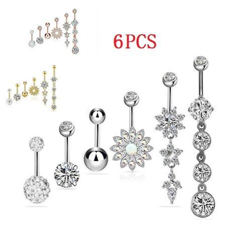 6Pcs Navel Rings Stainless Steel Belly Button Rings for Women Girls Body