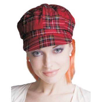 Red Plaid Newsboy Hat with Ginger Red Hair
