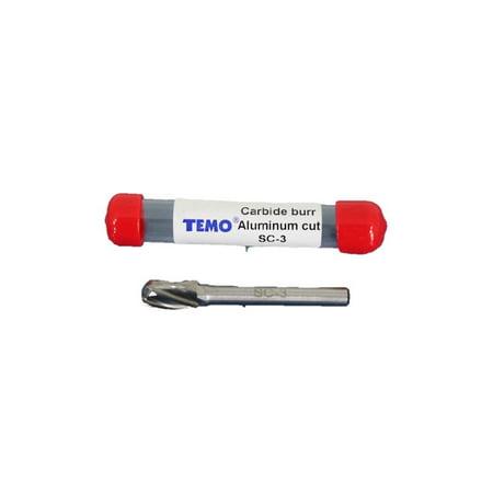 Sc Burr - TEMO SC-3 NF Aluminum Cut Carbide Rotary Burr FILE, 3/8 inch (9.5mm) HEAD Cylinder Ball, 1/4 inch (6.35mm) Diameter 2 inch (50.8mm) Long Shank