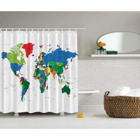 World Map Gifts Educational Earth Novelty Bath Accessories Fabric Shower Curtain