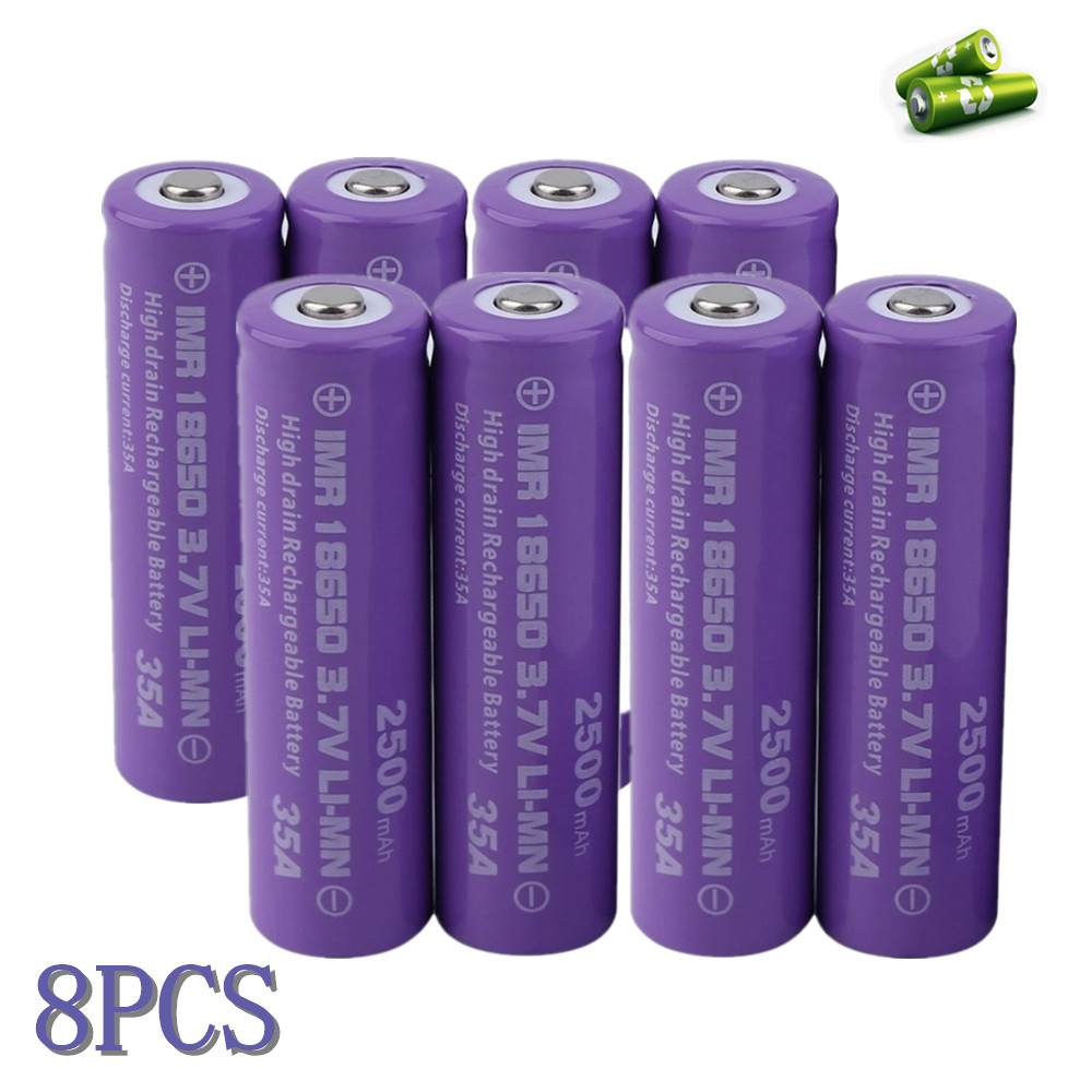 Large Capacity 2500MAH 18650 Rechargeable Battery 8pcs/set Torch Flashlight Replacement Battery Purple
