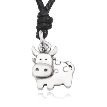 Milk Cow Cattle Silver Pewter Charm Necklace Pendant Jewelry With Cotton Cord