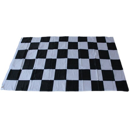 3ft*5ft Racing Checkered Flag Bright Color Fadeless Polyester Fabric Flag with Flagpole Casing Size:90*150CM](Checkered Flag Fabric)