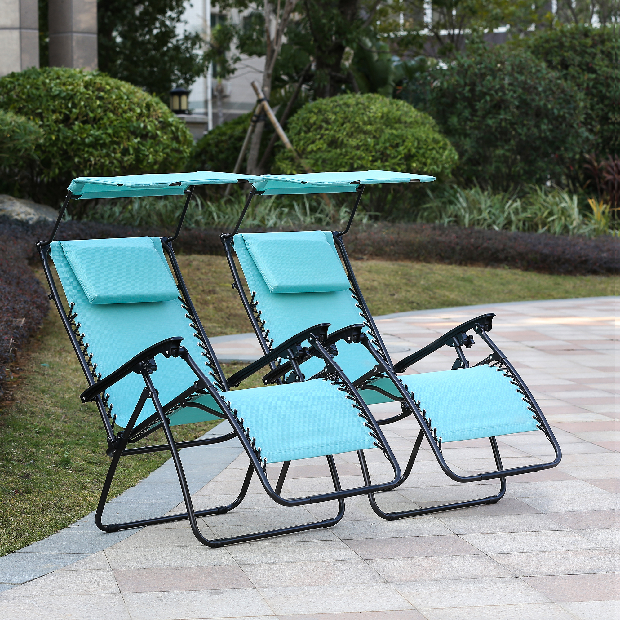 Set of 2 Zero Gravity Chair and Canopy - Turq