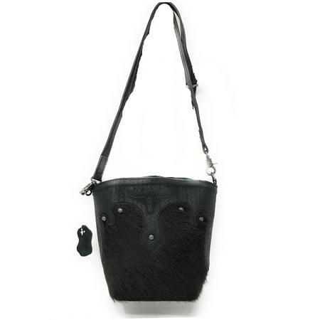 - Western Womens Genuine Leather Cow Hide Tooling Longhorn Lone Star Crossbody Bag