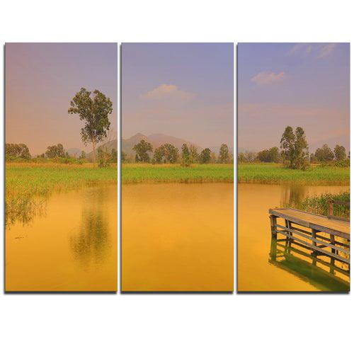 Design Art Wetland of Nam Sang Wai Orange - 3 Piece Graphic Art on Wrapped Canvas Set